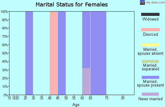 Zip code 95934 marital status for females