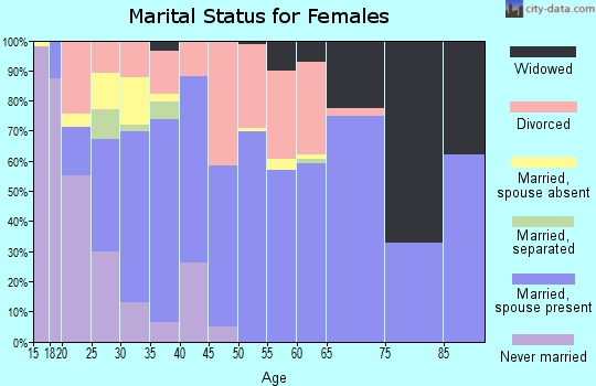 Zip code 98596 marital status for females