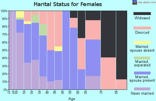 Zip code 99001 marital status for females