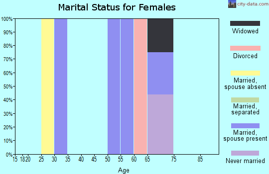 Zip code 99825 marital status for females